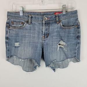 Express Distressed Chewed Hem Cut Off Denim Shorts